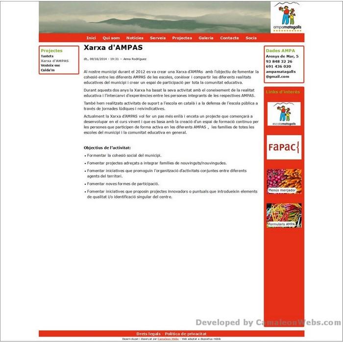 Pàgina projectes_xarxa-dampas: ampamatagalls-com - projecte web de Camaleon Webs