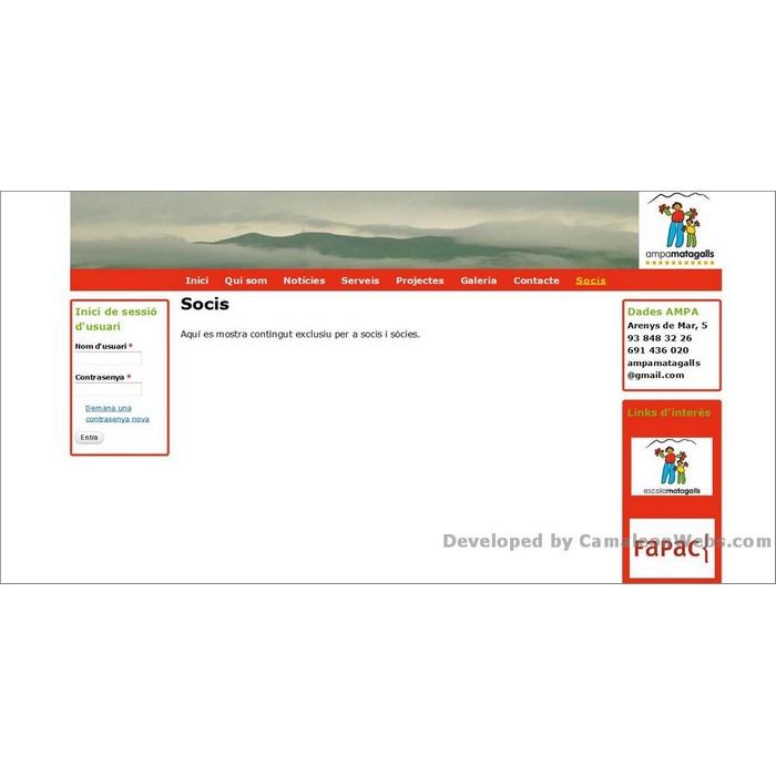Pàgina socis: ampamatagalls-com - projecte web de Camaleon Webs