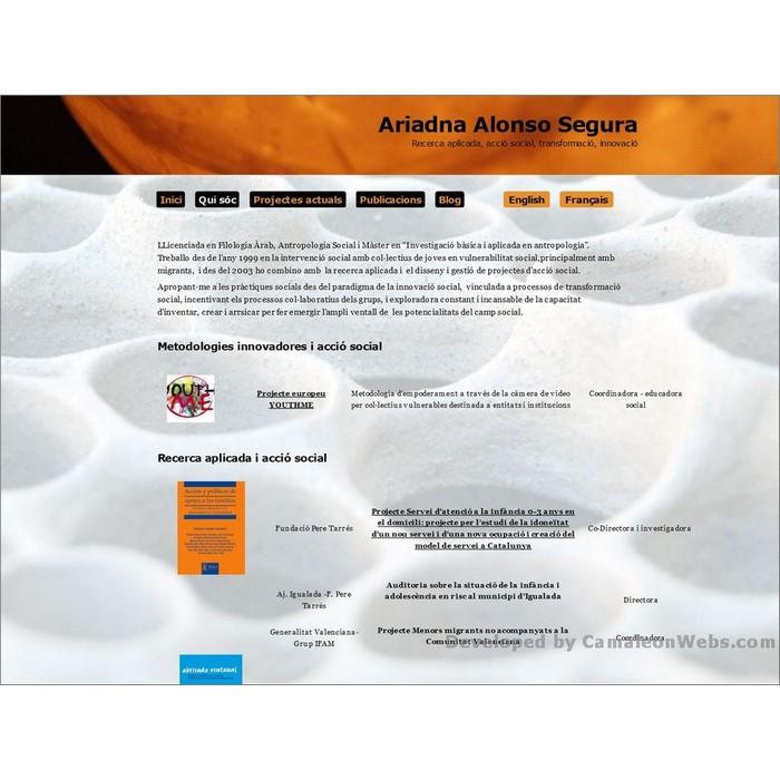 Pàgina Qui-soc: ariadnaalonso-com - projecte web de Camaleon Webs