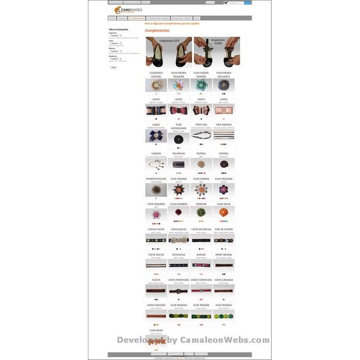 Pàgina complementos: camashoes-com - projecte web de Camaleon Webs