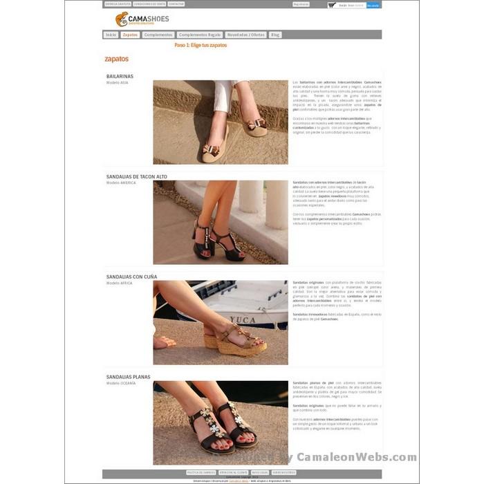Pàgina zapatos: camashoes-com - projecte web de Camaleon Webs