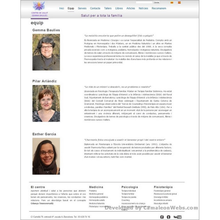 Pàgina equip: centredesalutgemmabaulies-com - projecte web de Camaleon Webs