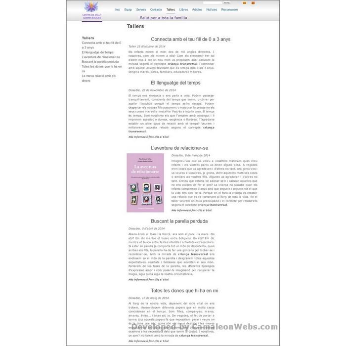 Pàgina tallers: centredesalutgemmabaulies-com - projecte web de Camaleon Webs