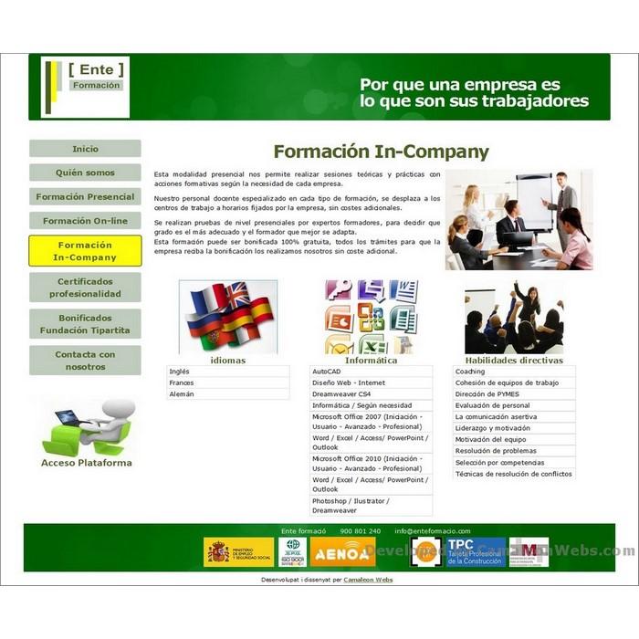 Pàgina formacion-company: enteformacio-com - projecte web de Camaleon Webs