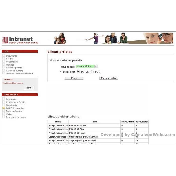 Pàgina exporta: icd - projecte web de Camaleon Webs