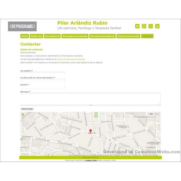 Pàgina contacto: pilararlandiz-com - projecte web de Camaleon Webs