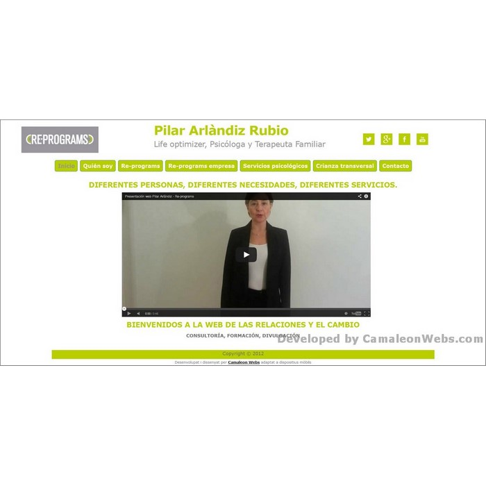 Pàgina inicio: pilararlandiz-com - projecte web de Camaleon Webs