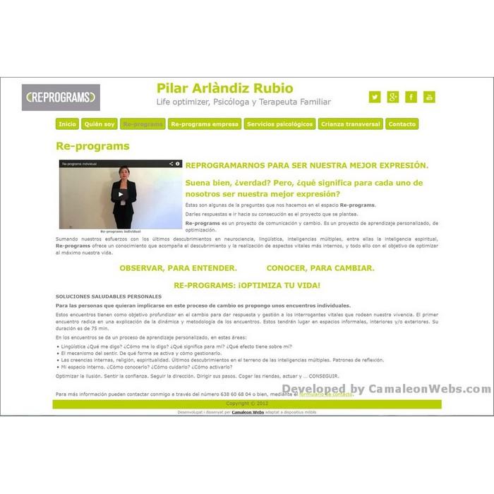 Pàgina re-programs: pilararlandiz-com - projecte web de Camaleon Webs