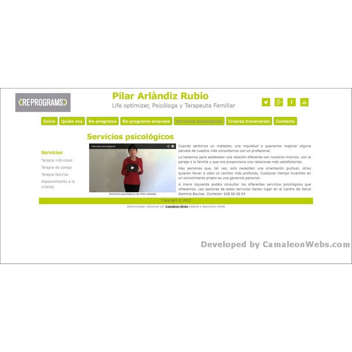 Pàgina servicios-psicológicos: pilararlandiz-com - projecte web de Camaleon Webs