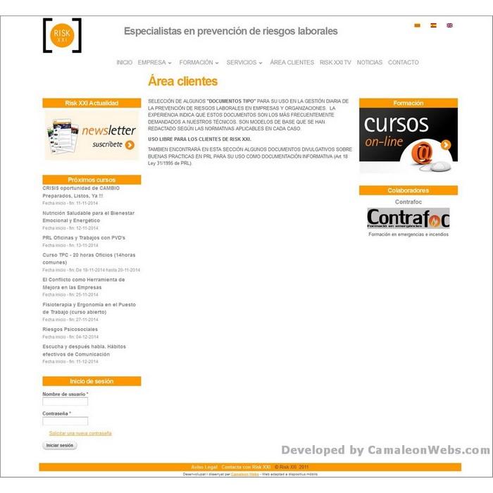 Pàgina area-clientes: risk21-com - projecte web de Camaleon Webs