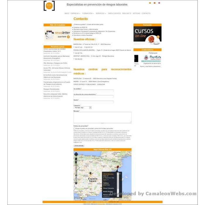 Pàgina contacto: risk21-com - projecte web de Camaleon Webs
