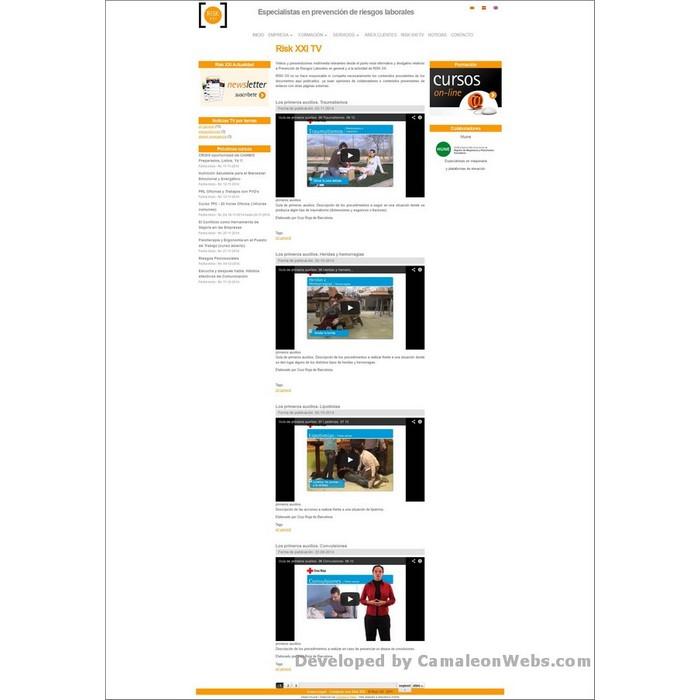 Pàgina Risk-XXI-TV: risk21-com - projecte web de Camaleon Webs