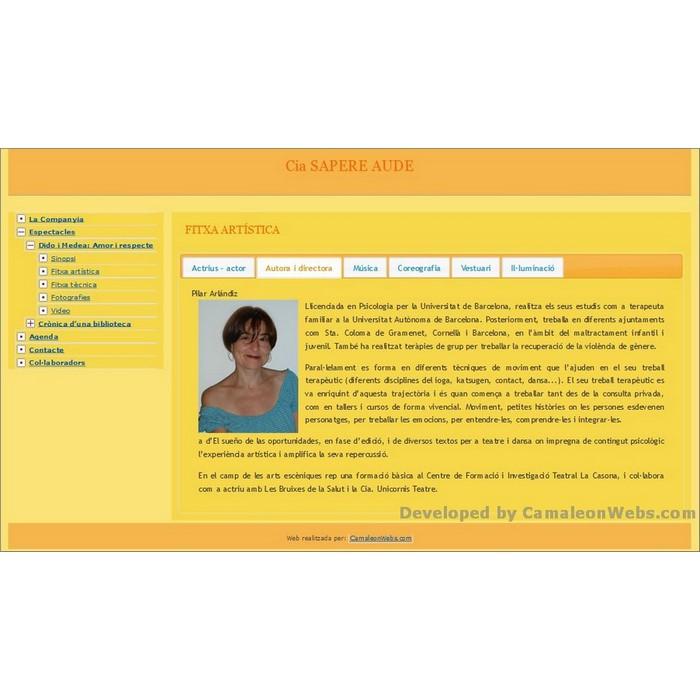 Pàgina Fitxa-artistica-autora: sapere-aude - projecte web de Camaleon Webs