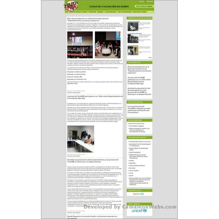 Pàgina noticias: youthme-eu - projecte web de Camaleon Webs