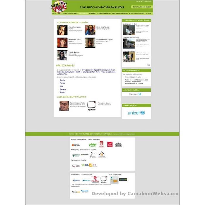 Pàgina participantes: youthme-eu - projecte web de Camaleon Webs
